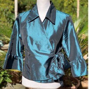 Shiny, Turquoise Collard Formal Dress Top Sz 12